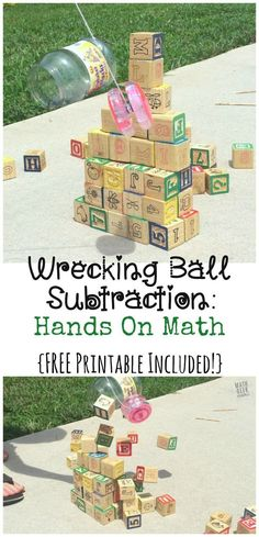 This easy subtraction game is sure to be a hit with your kids! Who doesn't love building a tower and knocking it down? Use this fun activity to model subtraction and practice writing equations. (Printable recording page included) #handsonmath #subtraction #freeprintables #mathskills #funmathactivities #subtractionideas #easymathgames #mathgeekmama