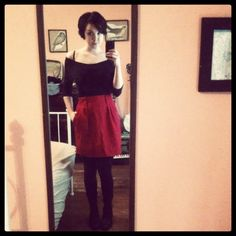 Thrifted skirt and top, Diba boots (via Nordstrom Rack).