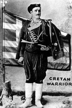 "A war poster illustrating a Cretan warrior with a caption in Greek that reads, ""Many happy returns."" This souvenir photo from Greece was sent to President Harry S. Truman by John Marangos, Editor of the Pancretan Union in America. Greek war poster."
