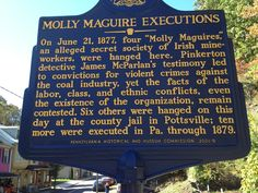 Molly Maguire Executions historic marker outside the Mauch Chunk prison where several were hung.