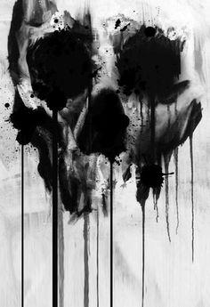 black watercolor skull drip