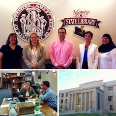 GPO employees visit Federal depository libraries in Wyoming. Top: Robin Haun-Mohamed and Jaime Huaman meet with Wyoming State Library's Federal Documents Librarian Tekla Slider, Interim State Librarian Jamie Markus, and State Publications Librarian Karen Kitchens. Bottom: Jaime Huaman meets with Wyoming State Law Library Interim Law Librarian Matt Swift to provide consultation and training services. This library has been a #fdlp member since 1977.