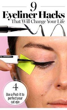 9 amazing eyeliner secrets you need to try Eyeliner Hacks, Eyeliner Styles, How To Apply Eyeliner, Eyeliner Ideas, Eyeliner Brands, Perfect Cat Eye, Perfect Eyeliner, Make Up Looks, Eyeliner Perfecto