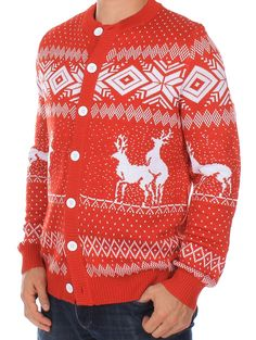 Ugly Christmas Sweater - Reindeer Double Date Cardigan (Red)