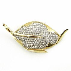 Vintage Marvella Rhinestone Leaf Brooch from luckyladyvintage on Ruby Lane