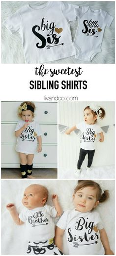 sibling shirts, big sister, little sis, little sister, little brother, brother shirt, sibling outfit, pregnancy reveal, liv and co
