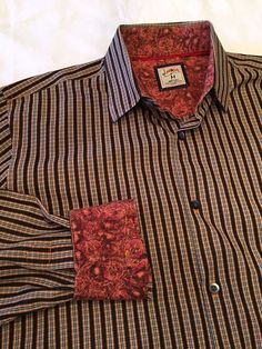 Jerry Garcia Black Orange Contrast Flip Cuff Shirt, M, Grateful Dead, Deadhead #JGarcia #ButtonFront