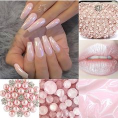 """3,057 Likes, 15 Comments - dailycharme (@daily_charme) on Instagram: """"Gorgeous pearly pink chrome nails by @fiina_naillounge Create this look using our Magic White…"""""""