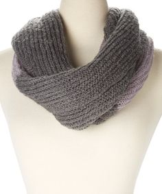 Take a look at this Gray & Purple Color Block Infinity Scarf on zulily today!