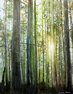 Mixed Media Green Painting - Sun Through Trees instruction for mixing greens: Princess Park, watercolor and mixed media by Sandrine Pelissier