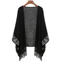 Black Aztec Print Fringe Kimono (1.170 RUB) ❤ liked on Polyvore featuring intimates, robes, kimono, outerwear, black, kimono robe, fringe kimono, patterned robes and print kimono
