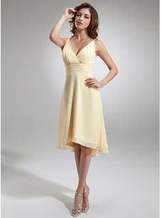 Bridesmaid Dresses - $109.99 - A-Line/Princess V-neck Asymmetrical Chiffon Bridesmaid Dress With Ruffle Beading  http://www.dressfirst.com/A-Line-Princess-V-Neck-Asymmetrical-Chiffon-Bridesmaid-Dress-With-Ruffle-Beading-007001144-g1144