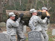 West Point Academy Jewish Cadets performed the ultimate act of kindness in Judaism - chesed shel emet, an act of loving kindness that cannot be repaid.  The soldiers cleared off HFBA (Hebrew Free Burial Association) property which was purchased for the poorest, almost forgotten Jewish people, to serve as their final resting place. Great article and more pics at this linked site.