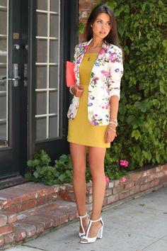 floral blazer + bright dress. great look!