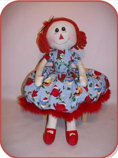 Image detail for -... item rag doll sewing pattern rag doll holiday holly downloadable pdf