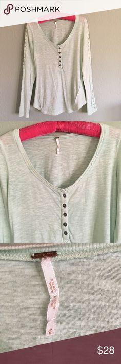 FREE PEOPLE Lace Ribbon Trim Henley T Top sz M Pale mint green, super cute and so soft, in great condition. Free People Tops Tees - Long Sleeve