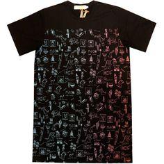 SUPERSWEET x moumi - Playground Multi Tee Dress ($85) ❤ liked on Polyvore featuring dresses, tee dress, mixed print dress, t-shirt dresses, t shirt dress and supersweet