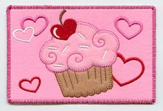 Cupid's Cupcake (Postcard) (In-the-Hoop) Valentine's Day gift play set paired with felt mailbox? Guest Towels, Hand Towels, Custom Embroidery, Machine Embroidery Designs, Valentine Day Gifts, Valentines, Cotton Linen, White Cotton, Cupcake Art
