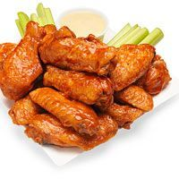 Classic Bufffalo Wings - I serve with homemade ranch dressing instead and use Frank's Hot Sauce. Yummy.  http://www.rachaelraymag.com/recipe/classic-bufffalo-wings/
