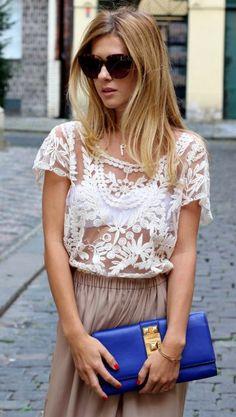 Lovely Crochet Top + Tan Skirt