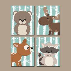 WOODLAND Nursery Wall Art, Birch Wood, Forest Pals, CANVAS or Prints Forest Animals, Deer Bear Raccoon Moose, Set of 4, Boy Nursery Decor