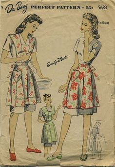 Vintage Apron Sewing Pattern | Du Barry 5683 | Year 1943 | Bust 36-38 | Waist 30-32 | Hip 39-41