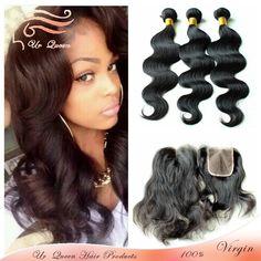 Free shipping unprocessed 6a virgin hair extension brazilian body wave 4pcs lot silk base closure and bundles virgin hair weaves US $218.60 - 379.80