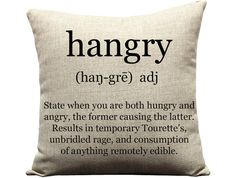 hangry pillow word pillow definition pillow by GEEKandtheCHIC