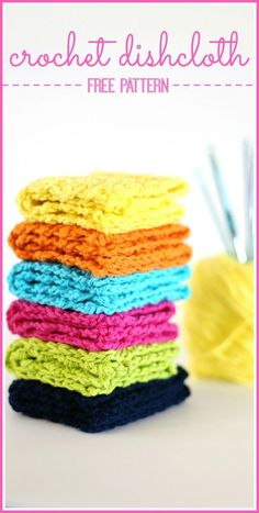 the best Crochet Dishcloths (with free pattern) for the kitchen - love these in bright colors!! - - Sugar Bee Crafts