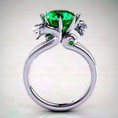 Harry Potter Slytherin 4.25 Emerald Solitaire by RazosRingShop