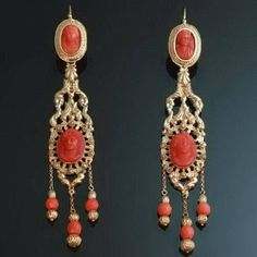 Georgian Chandelier Earrings of coral, coral cameos and gold.