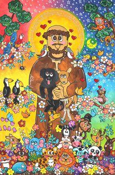 Painel arte naif Sao Francisco de Assis personaizado. Andreza Katsani Francis Of Assisi, St Francis, Happy Art, San Francisco, Animals And Pets, Framed Prints, Sarah Kay, Faith, Painting