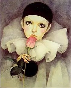 When I was a teenager Pierrot was very popular. My sister and I had posters like these and stationery with these pictures on it as well. I even bought my sister a Pierrot clock one year for her birthday or Christmas. Jean Louis Barrault, Art Illustration Vintage, Illustrations, Pierrot Clown, Art Mignon, Gifs, Bizarre Art, Fantasy Life, Carnival Themes