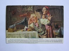 The old couple listening to an Edison Standard phonograph - Advertising Postcard