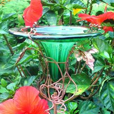 HUMMINGBIRD FEEDER stained glass copper Deep by GloriasGlassGarden, $35.00