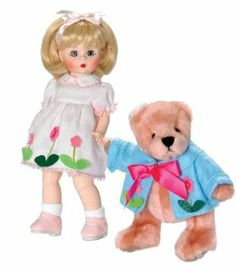 "Madame Alexander Spring Splendor Collectible Doll with Bear. by Madame Alexander. $59.00. 3 AND UP. 8"" tall. Includes a bear. Spring Splendor Madame Alexander Collectible Doll in precious spring colors with a plush teddy bear with coordinating flowers on his jacket"