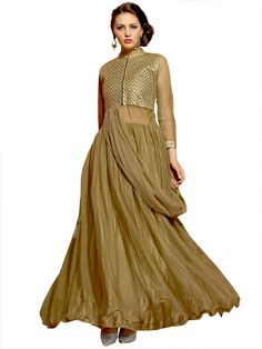 Admirable dusty green color net gown with zari work yoke part and metal zip is marvelous. Item Code:GANA1009V http://www.bharatplaza.com/new-arrivals/gowns.html