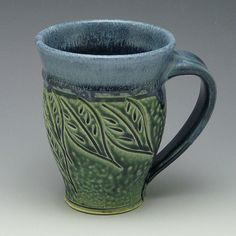 Carved Mug, Teal, Leaf