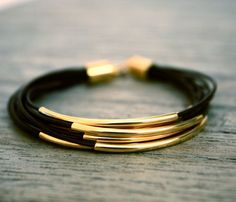 Tendance Joaillerie 2017   Thin Dark Brown Leather Bracelet with Gold Tube par fourhandsNYC