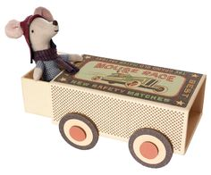 Maileg Big Brother Racer Mouse in a Matchbox Car. This cool mouse is wearing a fixed blue shirt, removable jeans, stripe scarf and faux leather red Matchbox Cars, Imaginative Play, Toy Boxes, Doll Accessories, Decoration, Wooden Toys, Little Ones, Boy Or Girl, Childhood