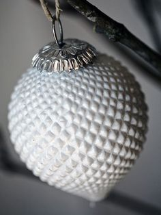 These stylish glass baubles come from Sweden - with their diamond-shaped pattern, milky white finish and solid feel it makes them objects of real beauty, adding Scandinavian romance at Christmas-time and beyond. White Christmas Image, Christmas Bulbs, Christmas Time, Christmas Decor, Carnival Glass, Glass Collection, Vintage Glassware, Glass Ornaments, Diamond Shapes