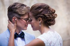 Beautiful lesbian brides Wally & Jo were visions at their chapel wedding | lesbian wedding | lgbt wedding | same-sex wedding | bride bow ties {Stroudsmoor Photography Studio}