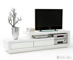 DELIFE Lowboard Cascara 170x45 cm Weiss Hochglanz TV Möbel mit 2 Schübe,