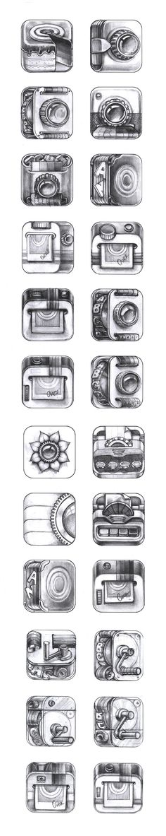 iPhone App Icon Sketches — Stage 2 #icon #icons #sketch #iOS #App #application #AppStore #iPhone #iPad #inspiration #photo