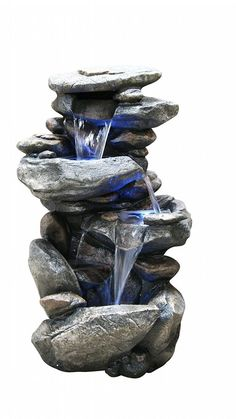 Relaxation Fountain Rock Waterfall With LED Lights Indoor Outdoor Feng Shui #Alpine