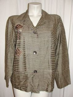 Chico's Design Green Brown Striped 100% Raw Silk Patchwork Shirt Jacket Size 1 M #Chicos #Blouse #Career
