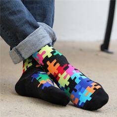 """Jig Saw Puzzle"" Socks (Black) [#1960M] by K. BELL | SOURCE: http://www.shopkbell.com/mens-jig-saw-puzzle-socks-1960m.aspx"