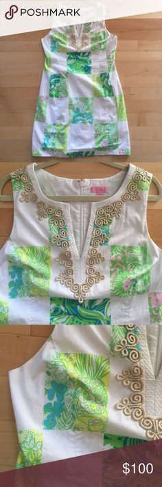 Lilly Pulitzer Shift Dress Beautiful dress only worn three times at most. Flattering fit! Janice style. Lioness Patch Resort White. Lilly Pulitzer Dresses