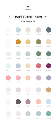 8 pastel color palettes for summer for use in your next project! palette pastel 8 pastel color palettes for summer Rgb Palette, Hex Color Palette, Pastel Colour Palette, Color Palate, Pastel Paint Colors, Pantone Colour Palettes, Pantone Color, Summer Color Palettes, Pantone Rgb