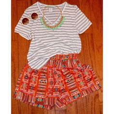 Fashion, Stripes, Print, Shorts, Summer, Outfit, Accessories, OOTD, LOTD, fun,